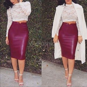 Dresses & Skirts - Red faux leather skirt
